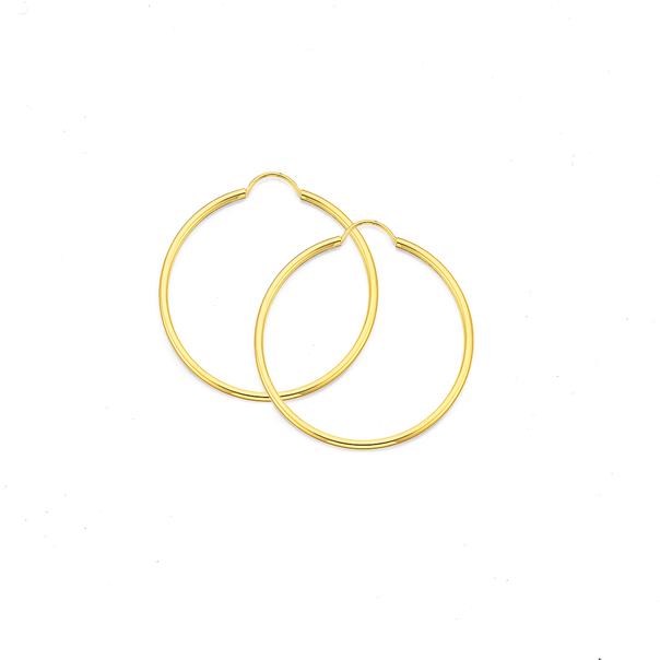 9ct Gold 1.5x30mm Polished Hoop Earrings