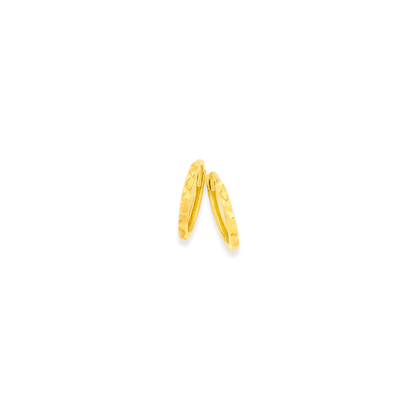 9ct Gold 1.5x9mm Diamond-cut Huggie Earrings