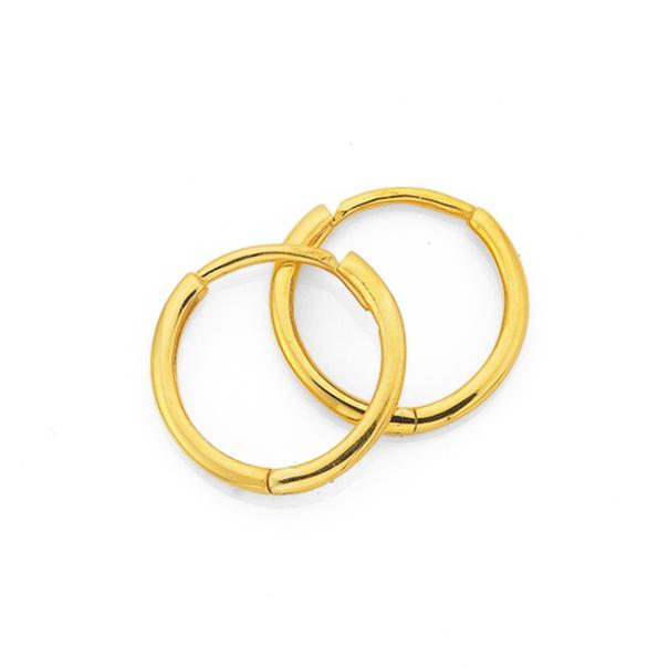9ct Gold 1.5x9mm Polished Huggie Earrings