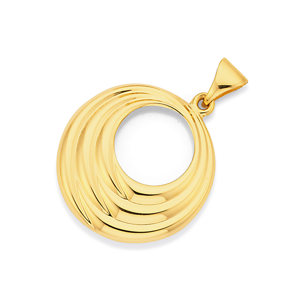 9ct Gold 18mm Multi-Ridged Circle Pendant