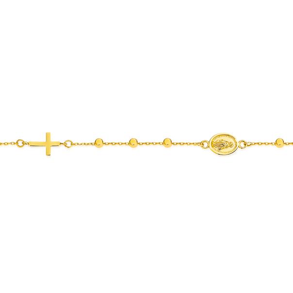 9ct Gold 19cm Beaded Cross & Medal Cable Bracelet