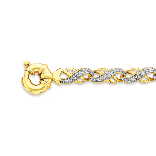 9ct Gold 19cm CZ Infinity Link Bolt Ring Bracelet