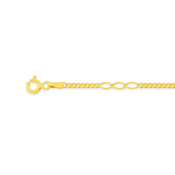 9ct Gold 19cm Hollow Fancy Figaro Curb Bracelet