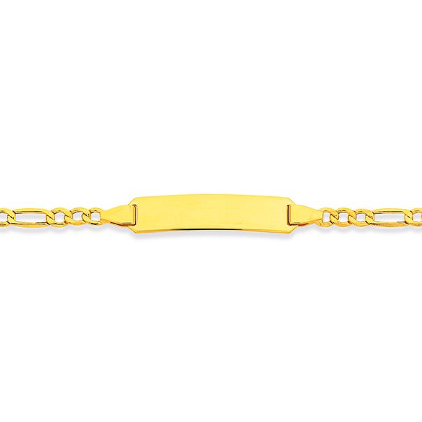 9ct Gold 19cm Hollow Figaro 3+1 ID Bracelet