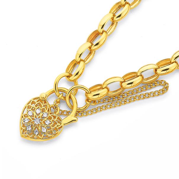 9ct Gold, 19cm Oval Belcher Diamond Padlock Bracelet