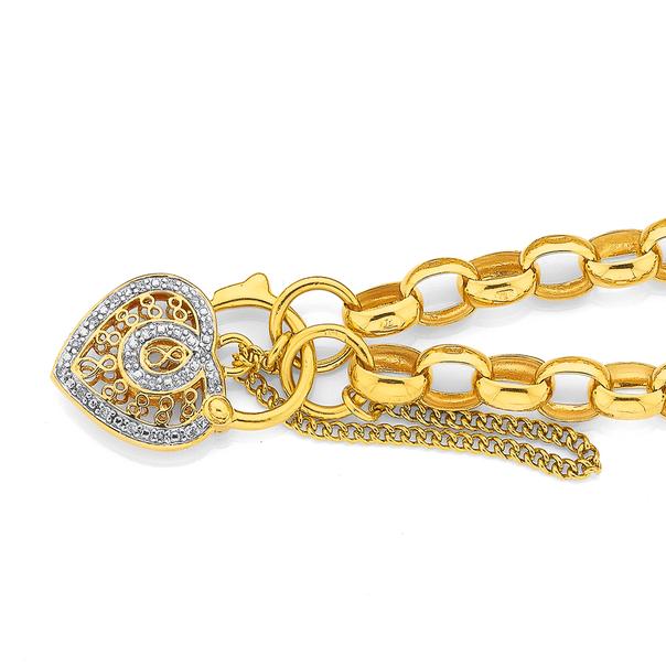 9ct Gold 19cm Solid Belcher Diamond Padlock Bracelet