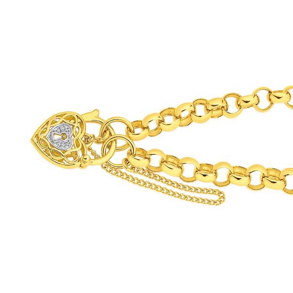 9ct Gold 19cm Solid Belcher Padlock Bracelet
