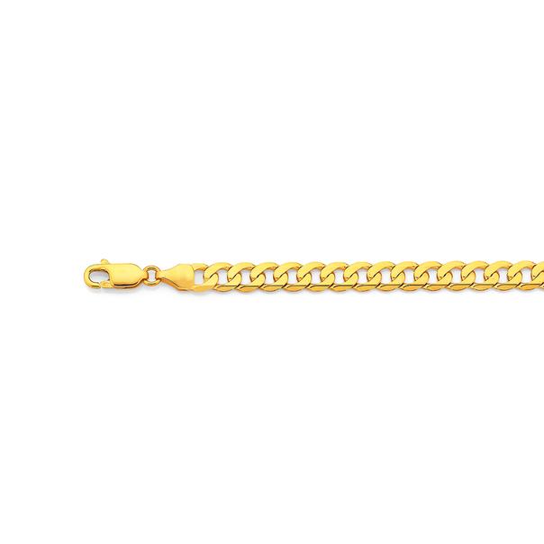 9ct Gold 19cm Solid Curb Bracelet