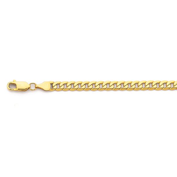 9ct Gold 20cm Solid Flat Curb Bracelet
