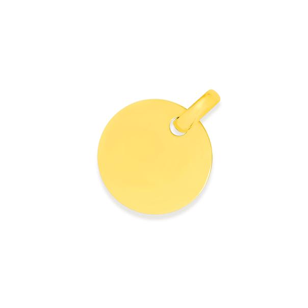 9ct Gold 20mm Engravable Disc Pendant