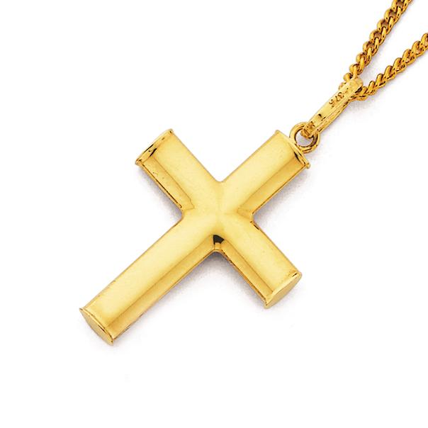 9ct Gold 21mm Plain Cross Pendant
