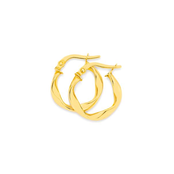 9ct Gold 2.5x10mm Ribbon Twist Hoop Earrings
