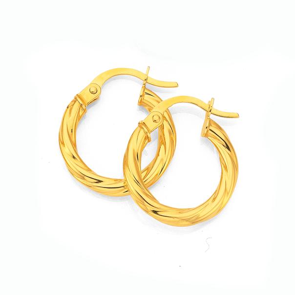 9ct Gold 2.5x10mm Twist Hoop Earrings