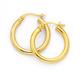 9ct Gold 2.5x15mm Polished Hoop Earrings