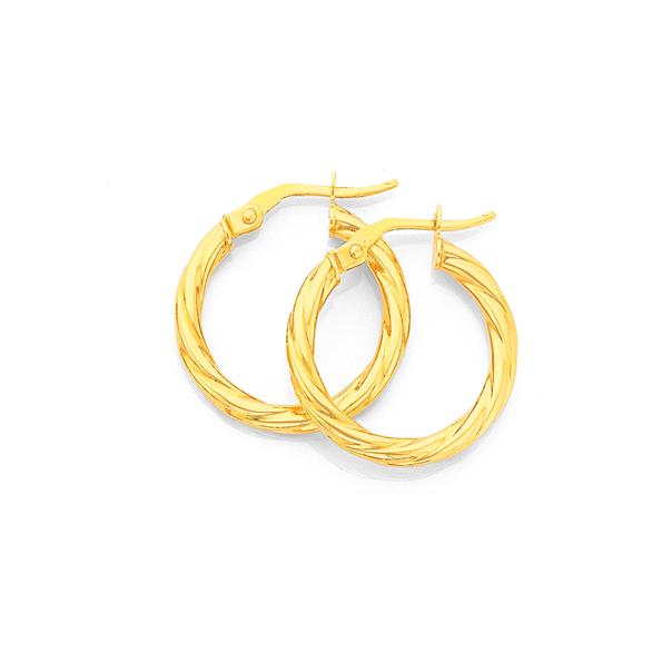9ct Gold 2.5x15mm Twist Hoop Earrings