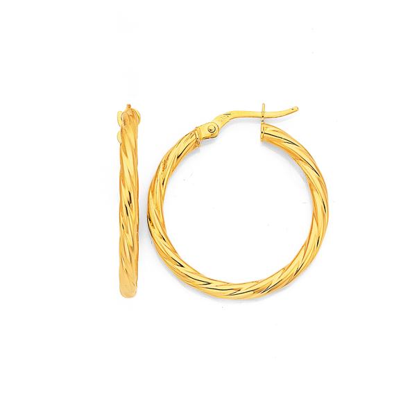 9ct Gold 2.5x20mm Twist Hoop Earrings