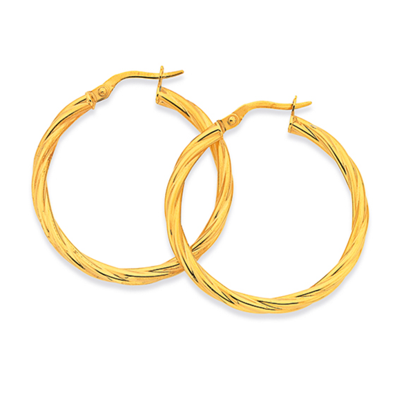 9ct Gold 2.5x25mm Twist Hoop Earrings