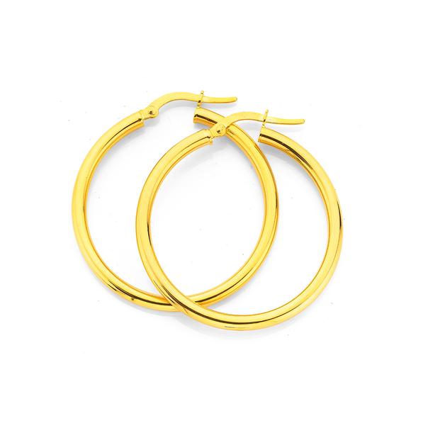 9ct Gold 2.5x30mm Polished Hoop Earrings