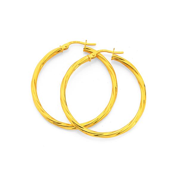 9ct Gold 2.5x30mm Twist Hoop Earrings