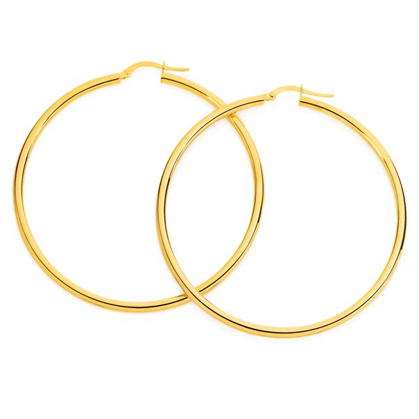 9ct Gold 2.5x50mm Polished Hoop Earrings