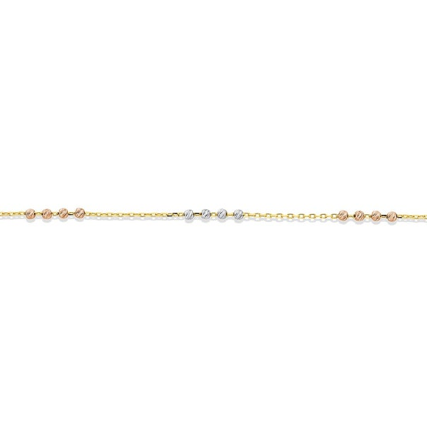 9ct Gold 27cm Tri Tone Beaded Anklet