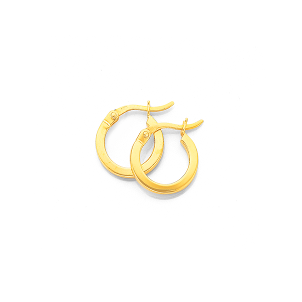 9ct Gold 2x10mm Squared Tube Hoop Earrings