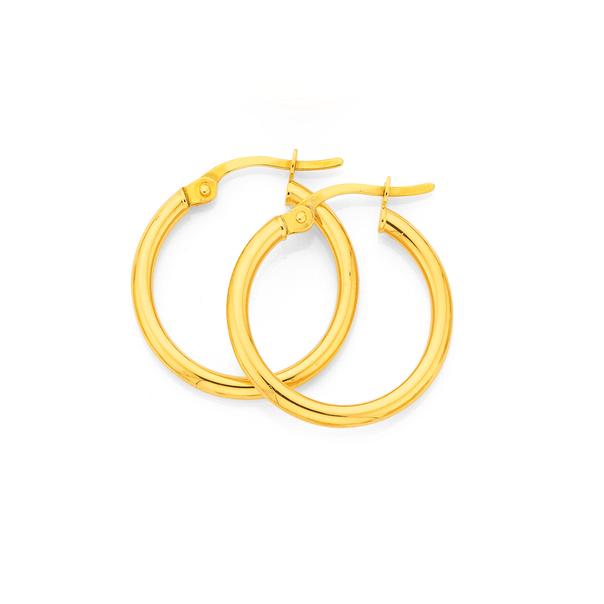 9ct Gold 2x15mm Polished Hoop Earrings