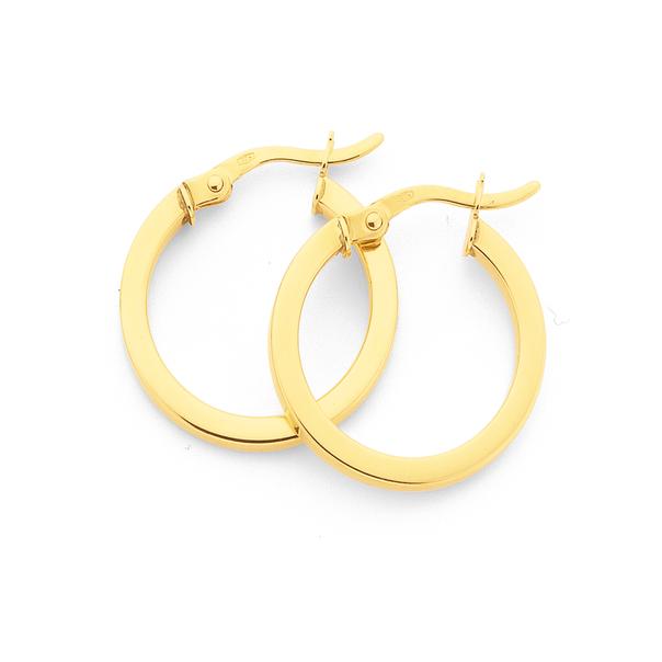 9ct Gold 2x15mm Square Tube Hoop Earrings