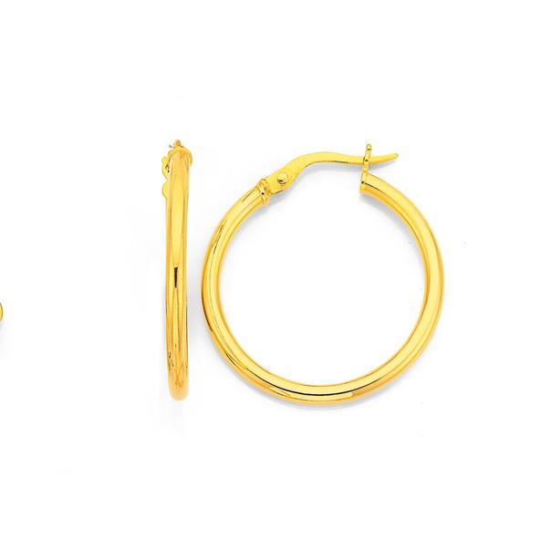 9ct Gold 2x20mm Polished Hoop Earrings