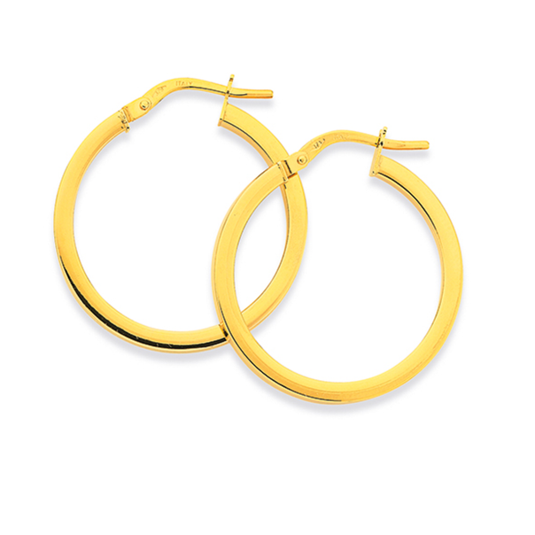 9ct Gold 2x20mm Square Tube Hoop Earrings