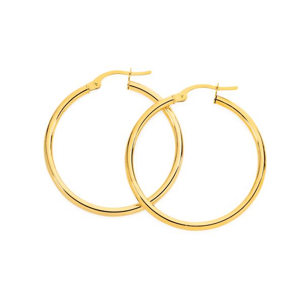 9ct Gold 2x25mm Polished Hoop Earrings