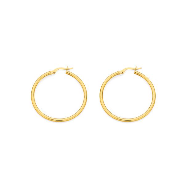 9ct Gold 2x30mm Polished Hoop Earrings