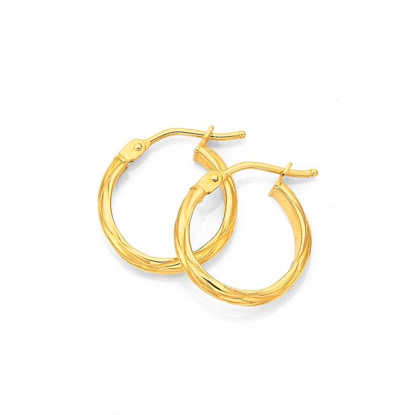 9ct Gold 3x10mm Half Round Twist Hoop Earrings