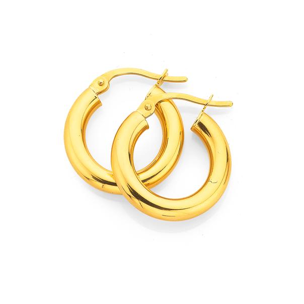 9ct Gold 3x10mm Polished Hoop Earrings