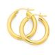 9ct Gold 3x15mm Polished Hoop Earrings
