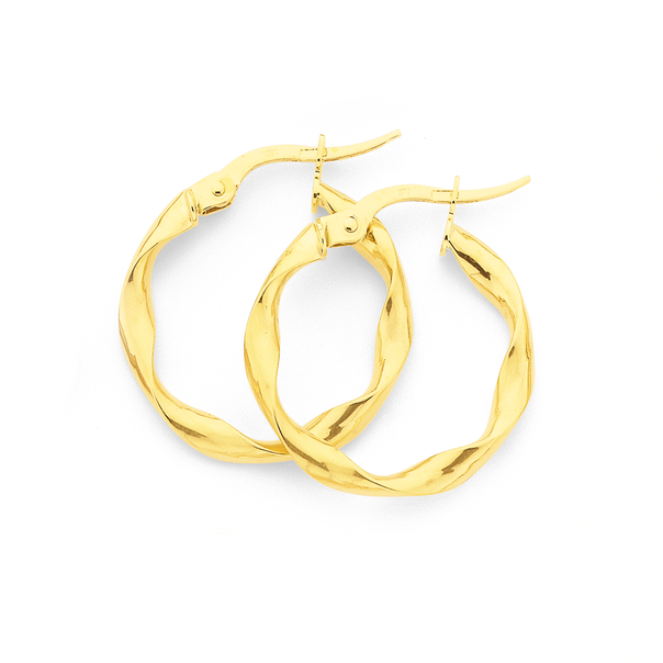9ct Gold 3x15mm Twist Hoop Earrings