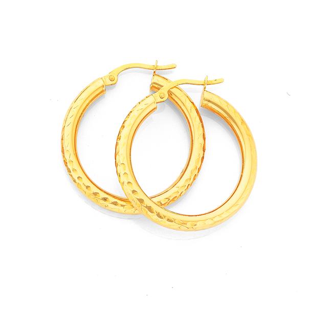 9ct Gold 3x20mm Diamond-cut Hoop Earrings