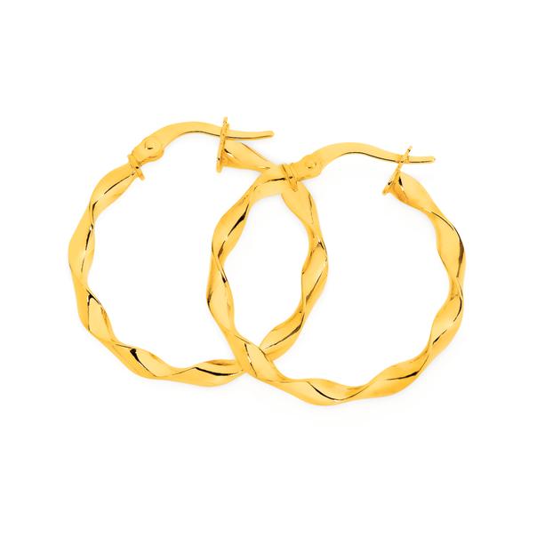 9ct Gold 3x20mm Twist Hoop Earrings