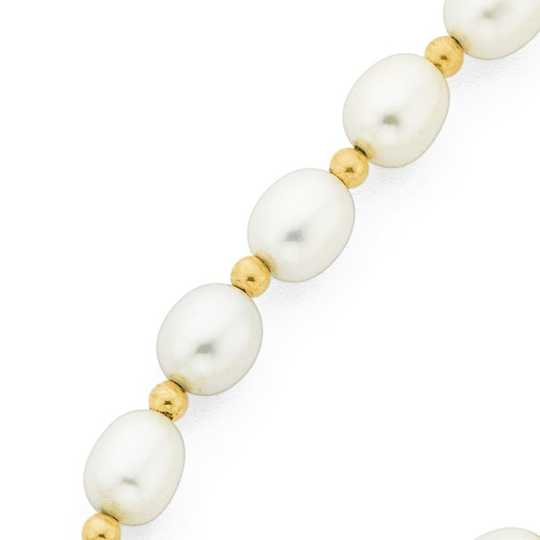 9ct Gold, 45cm Cultured Fresh Water Rice Pearl Rondell Necklace with Filigree Clasp