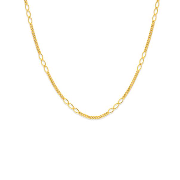 9ct Gold 45cm Fancy Figaro 3+12 Chain