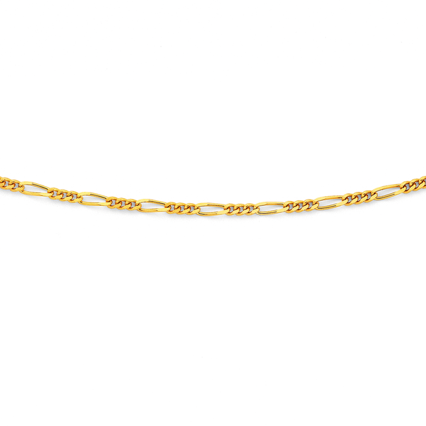 9ct Gold 45cm Solid Figaro 3+1 Chain