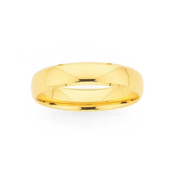 9ct Gold 4.5mm Width Round Bevelled Edge Wedding Band