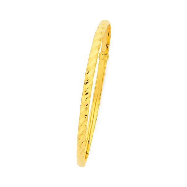 9ct Gold 4x65mm Hollow Twist Bangle