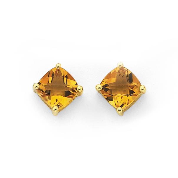 9ct Gold, 5mm Citrine Stud Earrings