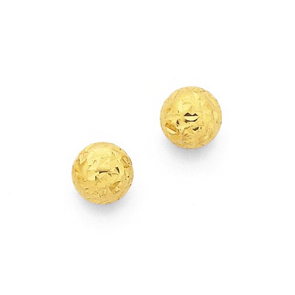 9ct Gold 5mm Diamond-Cut Ball Stud Earrings