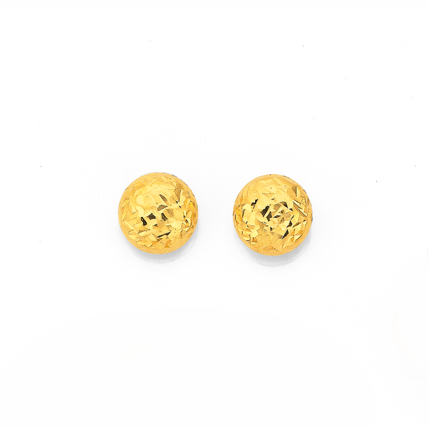 9ct Gold 6mm Diamond-cut Button Stud Earrings