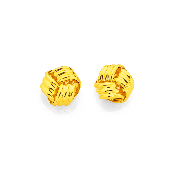 9ct Gold 6mm Knot Stud Earrings