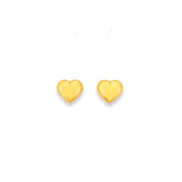 9ct Gold 6mm Puff Heart Stud Earrings