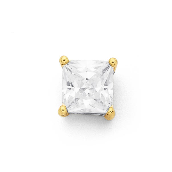 9ct Gold, 6mm Square Cubic Zirconia Single Stud Earring