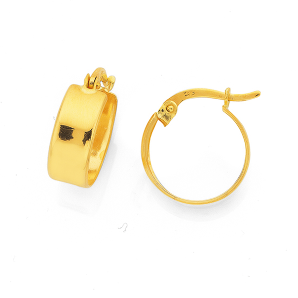 9ct Gold 6x12mm Flat Hoop Earrings